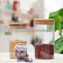Bidon à vide en verre Pyrex avec couvercle en bambou