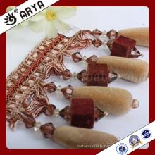 Bordure de perles carrées et longue perles à motifs à rideau pour décoration de rideaux et autres textiles à la maison