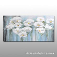 Handmade White Flower Oil Painting for Home Decoration