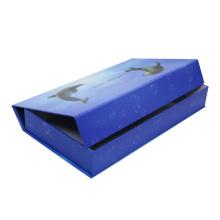 Caixa de papel de empacotamento de dobramento azul luxuosa do presente da exposição