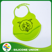 Green Pleasant Sheep Waterproof Silicone baby Bib