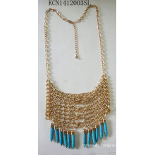 Multilayer Tassel Necklace with Blue Stone Pendant