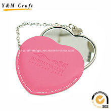 Promotional Heart Leather Small Mirror for Makeup Ym1151