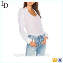 Moda senhora botão casual planície algemado mangas de seda plissada manga longa blusa de volta design pescoço
