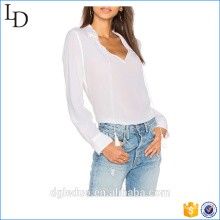 Мода дамы случайные кнопки однотонные манжеты на рукавах Шелковый Плиссированные с длинным рукавом блузка назад дизайн шеи
