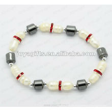"""Magnetische Hämatit-Trommel Perlen Armband 7,25 """""""
