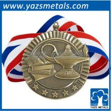 personalize medalhas de metal, medalha escolástica de alta qualidade personalizada com fita e estrelas