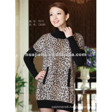 Leopard pattern cashmere sweater dress for young ladies
