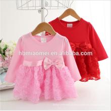 Новая мода роза цветок младенческой платье розовый с длинным рукавом хлопок младенческой бальное платье детская одежда для осени