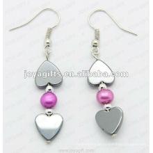 Magnetische Hämatit Herz Perlen Ohrringe