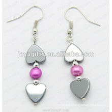 Magnetic Hematite Heart Beads Earrings