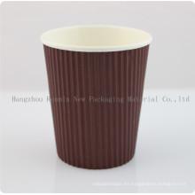 Taza de papel desechable de la pared de la ondulación del cliente de la fábrica para el café caliente