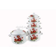 pote de chá de esmalte coreano com botão de plástico & punho de madeira