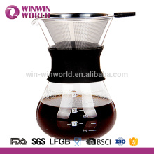 Carafe en verre résistant à la chaleur 650ml manchon assorti utilisé pour cafetière
