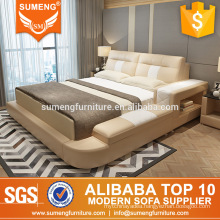 Alibaba China luxury italian top grain leather +PVC bedroom furniture sets