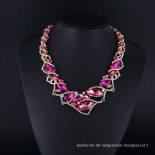 Lila Kristall und Tschechische Strass glänzende Halskette Set