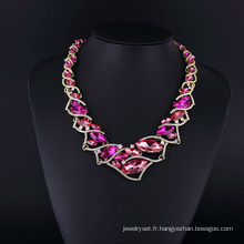 Ensemble de collier brillant en cristal violet et strass tchèque