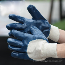 NMSAFETY blue nitrile gloves 3/4 coated chemical industry work gloves open back