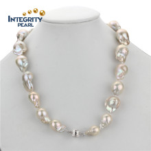 Fashion AA 15mm Large Nucleated Baroque Pearl Necklaces Designs Mais recentes
