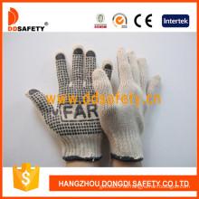 Baumwolle / Polyester String stricken. Schwarzer PVC-Punkt-Handschuh eine Seite mit Logo. (DKP151)