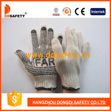 Cotton/Polyester String Knit. Black PVC Dots Glove One Side with Logo. (DKP151)