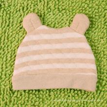 Sombrero rayado del bebé recién nacido del algodón orgánico