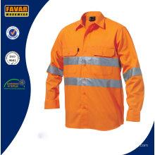 100% algodón hombres de largo camisa de trabajo de seguridad de alta visibilidad de manga