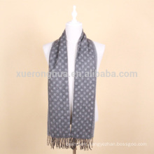 grey color jacquard wool scarf for men