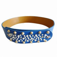 New Arrival Dark Blue PU Belt, Decorated with Studs and Pearls, Various Colors are Available