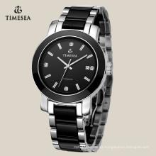 Reloj de pulsera caliente para hombres con banda de cerámica negra 72117