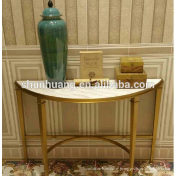 marble top stainless steel hall console gold color metal furniture