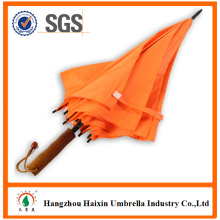 High Quality Products Orange Color Promotional Automatic Wooden Umbrella Big Size