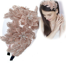 Bandeau Lace Wide Embroidery Headband For Women Luxury Hair Accessories Designer Flower Bride Baroque Hairband Wedding Girl