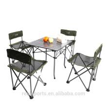 Maleta de aluminio plegable sillas de mesa de picnic con 4 asientos
