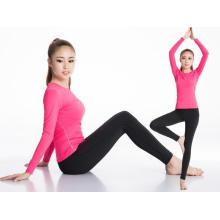 Mulheres esporte roupas de manga longa suor rápido fitness t-shirts 7 cores