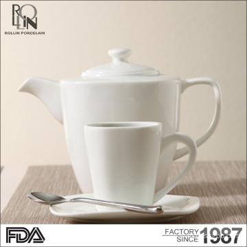 New design fashion tea cup set white china restaurant ceramic mug coffee porcelain mug with saucer teapot