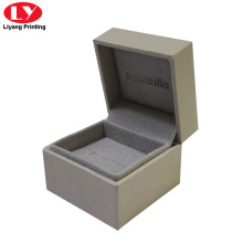 caixa de anel de engajamento cinza cristal personalizado mini