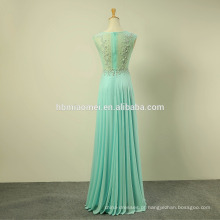 Nova moda mid-manga chiffon lace full-length vestido de noite sexy