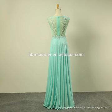 New Trendy Mid-Sleeve Chiffon Spitze Voller Länge Sexy Abendkleid