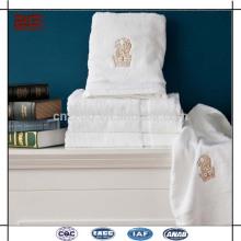 Custom Logo Broderie 32s 100% coton serviettes de salon en gros