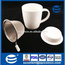 Plain White Blank Cerâmica New Bone China Coffee Cup Copo de chá com filtro com tampa