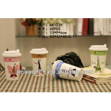 KC-01016 lindo diseño, taza de café de cerámica con tapa de silicona