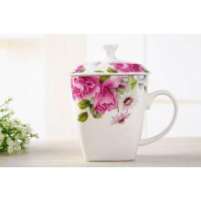 Copo de chá de porcelana com impressão de flores para presentes