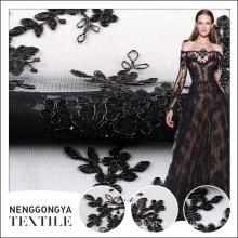 Оптовая дешевые цена черный вышивок с сетчатой тканью