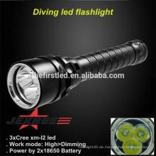 JEXREE 3XCREE XM-L2 LED führte Tauchen Taschenlampe OEM Mit 18650 Akku