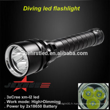 JEXREE Haute qualité cree xm-l U2 LED lampe de poche Super Bright police de plongée sous marine