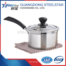 14 cm Hot selling small stainless steel saucepan with glass lid