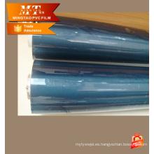 Película clara estupenda transparente del pvc azul para hacer el bolso