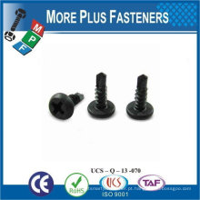 "Feito em Taiwan # 8-9 x 2-1 / 2 ""Phillips Bugle Head # 2 Tamanho do Drive Grosso Fuso Black Phosphate Sharp Point Drywall Screw"
