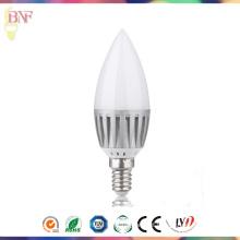 Bulbo barato da vela do alumínio do diodo emissor de luz C37 dos candelabros para 4W / 6W / 8W / 10W com E14